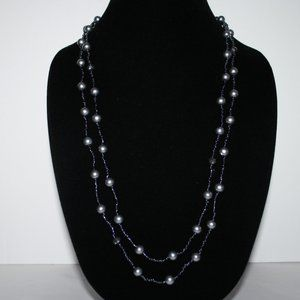 """Beautiful gray pearl beaded necklace 56"""""""